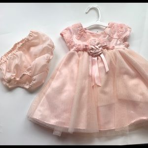 3-6 months formal peach baby girl outfit